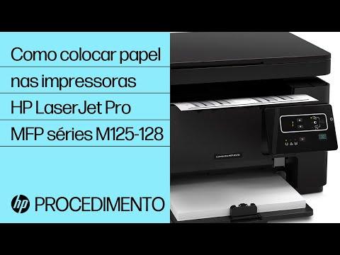 Como colocar papel nas impressoras HP LaserJet Pro MFP séries M125-128