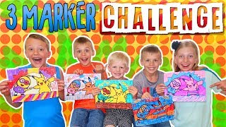 3 Marker Challenge with my 4 Brothers 🖍 Family Fun Pack