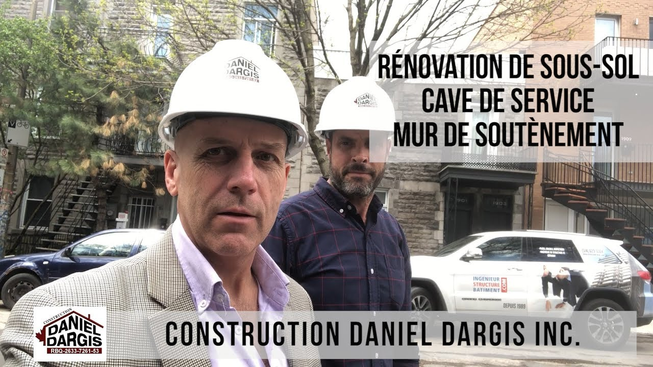 Mur de soutènement en béton armé au sous-sol, cave de services – Daniel Dargis ingénieur