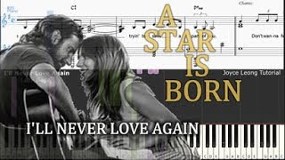 Gambar cover Lady Gaga - I'll Never Love Again (Extended Version) - Tutorial & Sheets