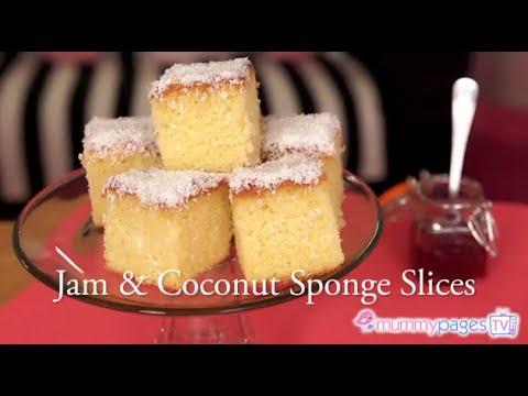 Video Jam & Coconut Sponge Slices