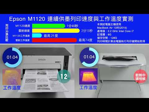Epson M1120連續供墨列印速度實測
