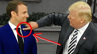 Trump Brushes FAKE Dandruff (High-Status PowerPlay) Watch Macron's Reaction!