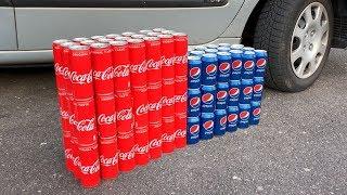 100 Coca Cola Cans vs Pepsi Cans vs CAR