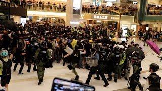 「沙田反送中」警方涉嫌違規進入私人商場清場激怒示威者 雙方爆發激戰 多名示威者流血被捕 警察也不斷被圍攻最終狼狽撤離(高清實錄)