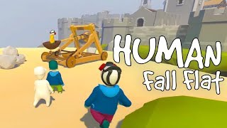 Human Fall Flat - The Derpiest Castle Siege! - Human Fall Flat Multiplayer Gameplay Highlights