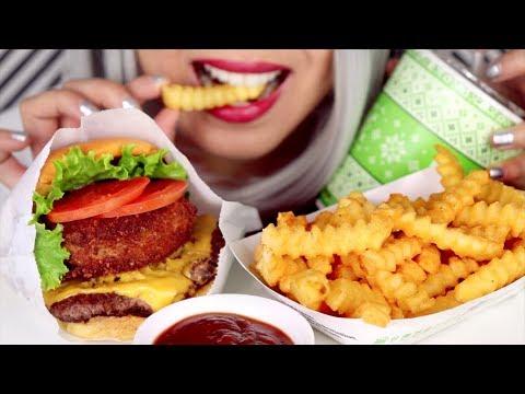 ASMR Eating Shake Shack CheeseBurger (+ Cheese-filled) & Cheese Fries *No Talking