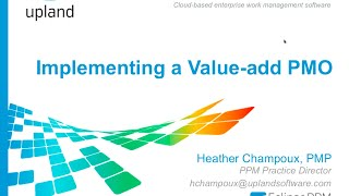 Setting Up a PMO   Tips to Implementing a Value add PMO - Overview