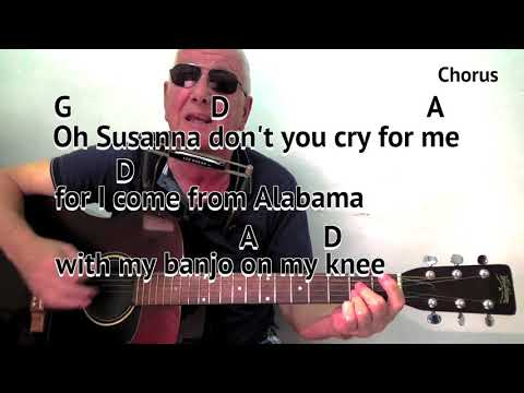 Oh Susanna (D) - acoustic cover - easy chords guitar lesson - on-screen chords and lyrics