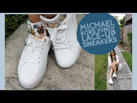 Michael Kors Mindy Lace-Up Sneakers unboxing & review   Best white sneaker