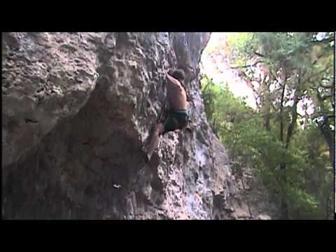 Russell Mayes In Monster Rock, TX, Rock climbing, FA, Sick Exp. 5.13