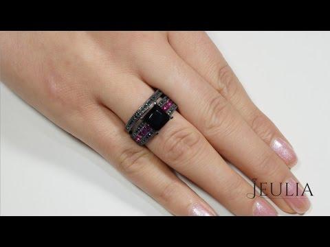 Jeulia Princess Cut Black Diamond Engagement Ring Bridal Sets - Jeulia Jewelry