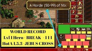 LIVE - Heroes3 HotA 1.5.3 : World Record Attempt - Lvl 1 Hero - 111 Break on JEBUS CROSS