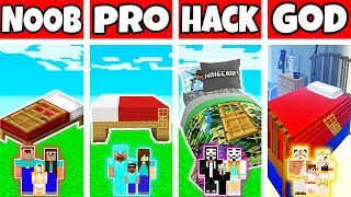 Minecraft: FAMILY GIANT BED HOUSE BUILD CHALLENGE - NOOB Vs PRO Vs HACKER Vs GOD In Minecraft