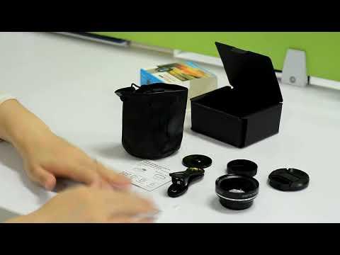 Линза для телефона универсальная 2 в 1: объектив 0.45× широкоугольный с 12.5× макрообъективом на клипсе Phone Lens (PL-20103) Video #1