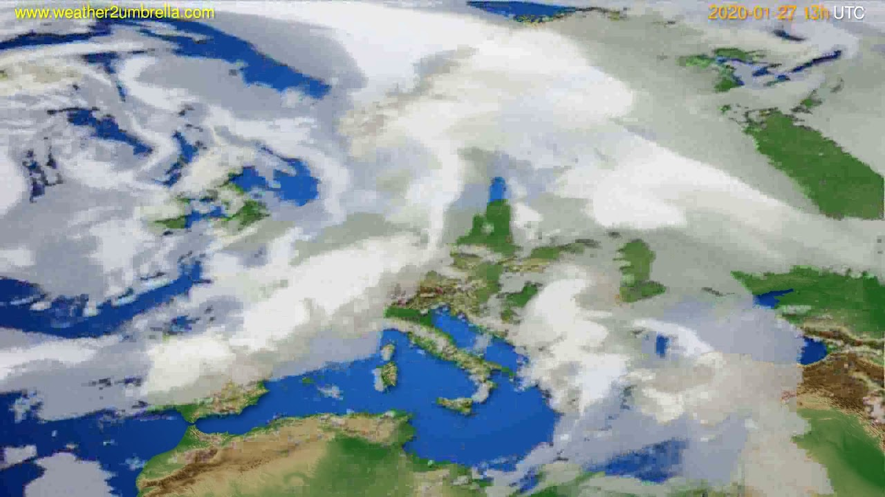 Cloud forecast Europe // modelrun: 12h UTC 2020-01-26