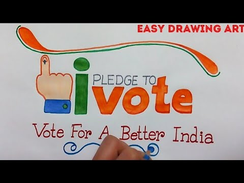 how to draw vote for a better india poster drawing || voting drawing for kids