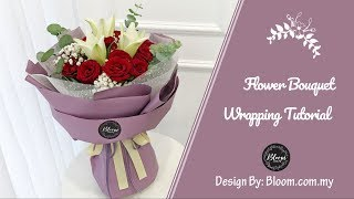 Flower Bouquet Wrapping Tutorial (Round Design) || Wrapping Idea & Technique