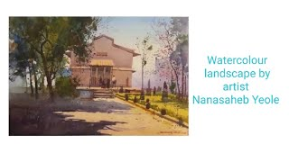 preview picture of video 'Watercolour landscape demo by artist Nanasabeb Yeolo'
