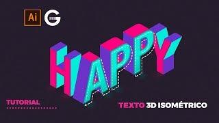 Illustrator Tutorial | Texto 3D Isométrico SIN RETÍCULA Fácil | 3D Isometric Text
