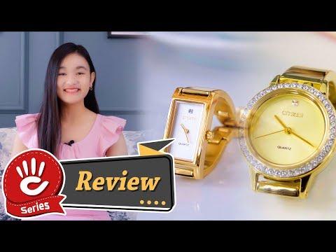 Trên tay 2 chiếc đồng hồ Citizen nữ màu vàng giống hệt như vòng đeo tay