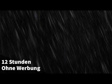Regengeräusche ohne Gewitter (12 STUNDEN) Regen zum Einschlafen - Schwarzer Bildschirm