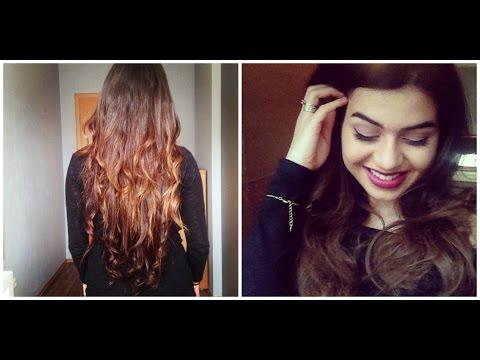Das Haar bis zu und nach der Nutzung des Öls