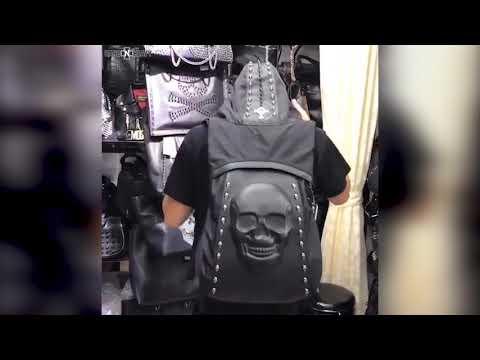 Skull Backpack with Rivets & Hood / Alternative fashion