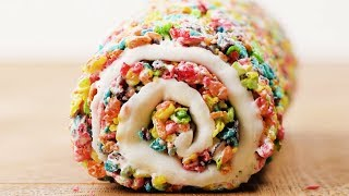 Marshmallow Fruity Pebble Roll   DIY Quick And Easy Treats   Fun Food Ideas By So Yummy
