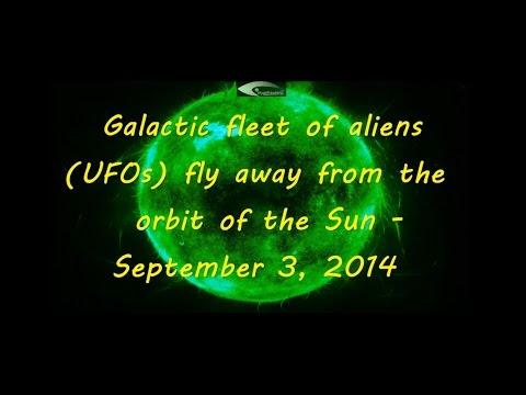 Galactic fleet of aliens UFOs fly away from the orbit of the Sun – September 3, 2014