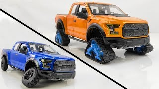 Restoration/Customization Ford F-150 Raptor Into a Tracked Snow Truck – Model Car Customization