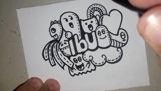 How To Draw DOODLE ART NAME IBU | Cara Menggambar Doodle Art Nama IBU