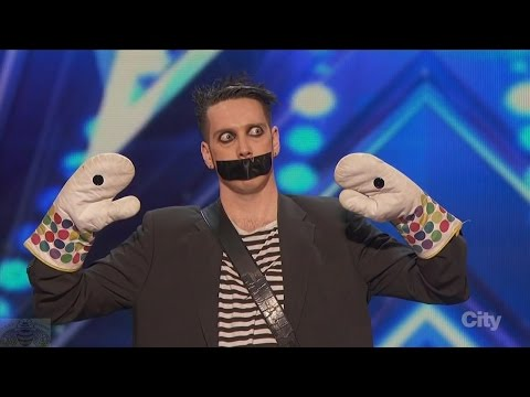 America's Got Talent 2016 Tape Face Incredibly Inventive Comedy Act Full Audition Clip S11E01 (видео)