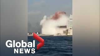 Beirut explosion: Diver captures moment of blast as seen from the water