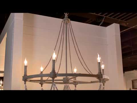 Video for Beverly French Washed Oak and Distressed White Wood Six-Light Chandelier