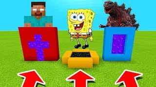 Minecraft PE : DO NOT CHOOSE THE WRONG PORTALS! (Herobrine, Spongebob & Godzilla)
