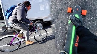 MOTORIZED SKATEBOARD VS. BIKE iN NYC