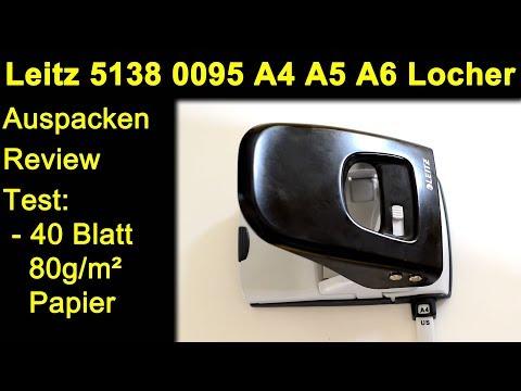 Leitz NeXXt 5138 0095 Locher - Auspacken Review Test mit 40 Blatt 80g/m² A4 Papier