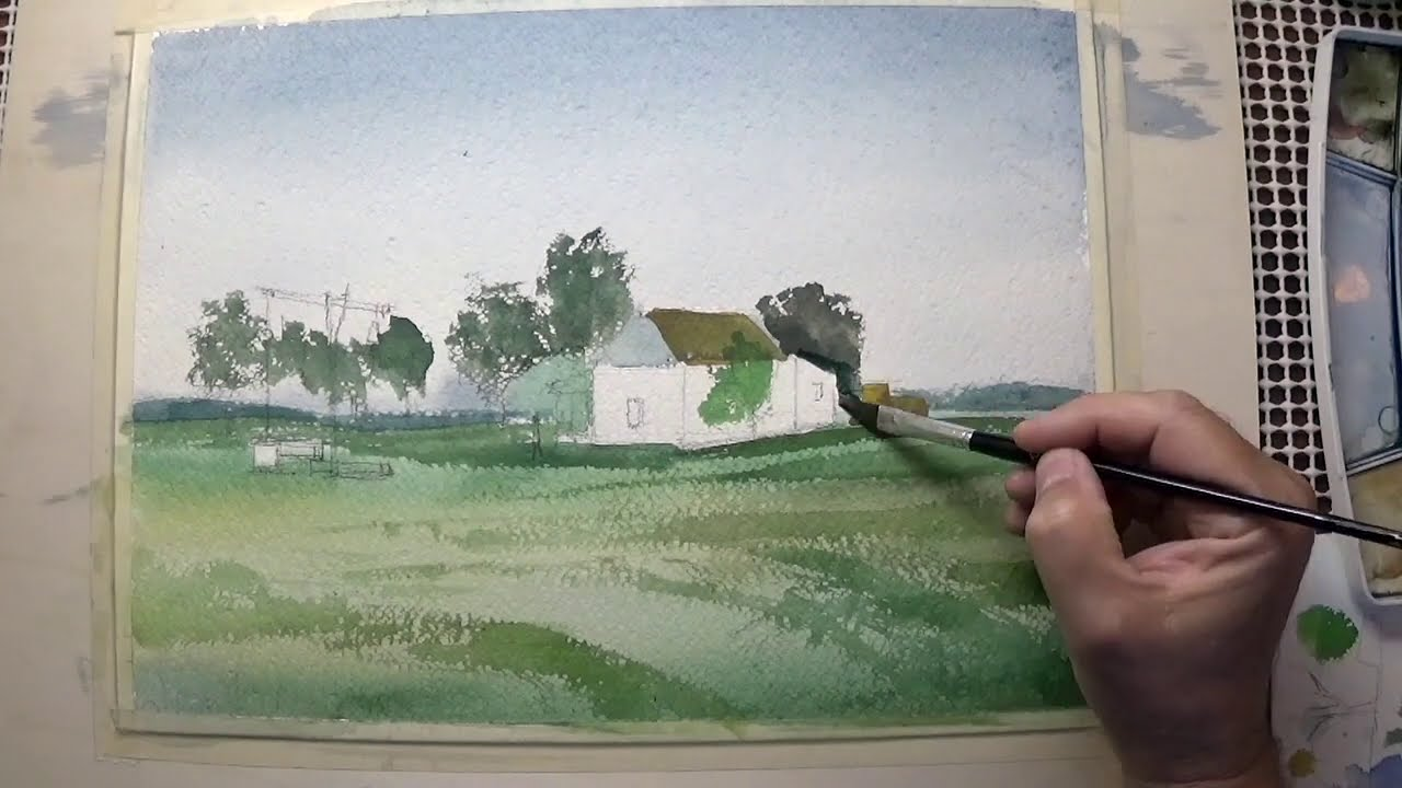 watercolor landscape painting of a farm by vamos