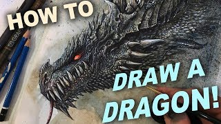 DRAWING A DRAGON:  MIXED MEDIA TUTORIAL