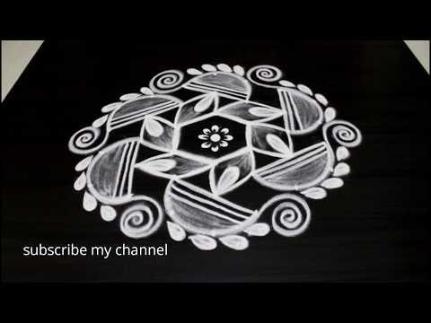 Festival special kolam    Beautiful Deepam muggulu with 7 dots    Creative rangoli designs