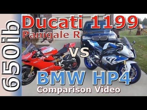 Ducati 1199 Panigale R vs BMW HP4: comparison video