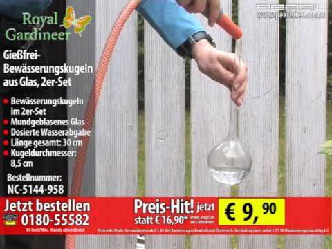 Royal Gardineer Gießfrei-Bewässerungskugeln aus Glas, 2er-Set