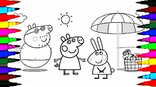 Coloring Pages Peppa Pig And Family On Holiday L Kids How To Color Drawing