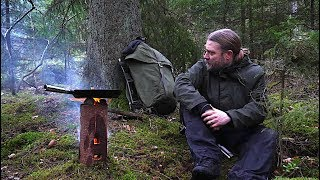 Bushcraft Trip - Wooden Rocket Stove Without Drilling - Traditional Swedish Woodsman Cooking