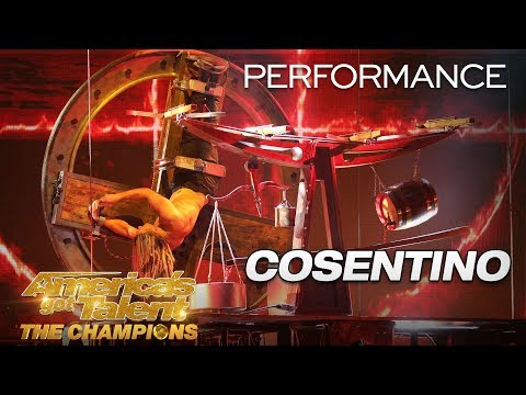 Cosentino: Escape Artist Performs Fiery, Death-Defying Stunt - America's Got Talent: The Champions (видео)