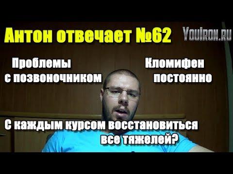 Антон Отвечает №62 КЛОМИФЕН ПОСТОЯННО. ПРОБЛЕМЫ С ПОЗВОНОЧНИКОМ