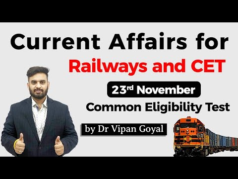 23 November 2020 Daily Current Affairs For All Exams Dr Vipan Goyal Study IQ #CET #NTPC #NRA #SSC