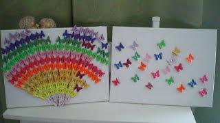 DIY - 3 D Bild - Regenbogen Herz aus Schmetterlingen
