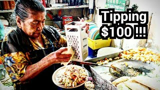 TIPPING Taco Lady $100 Dollars - Mexican Street food - Money Sent From SUBSCRIBERS!!!